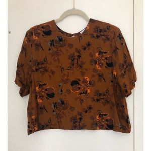 Leith by Nordstrom Rust Floral Crop